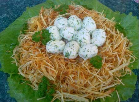 салат перепелиное гнездо рецепт